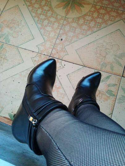 雅诗莱雅高跟短靴女靴冬细跟尖头冬季女鞋侧拉链性感高跟靴子加毛加绒女士 3144红色 38正码 晒单图