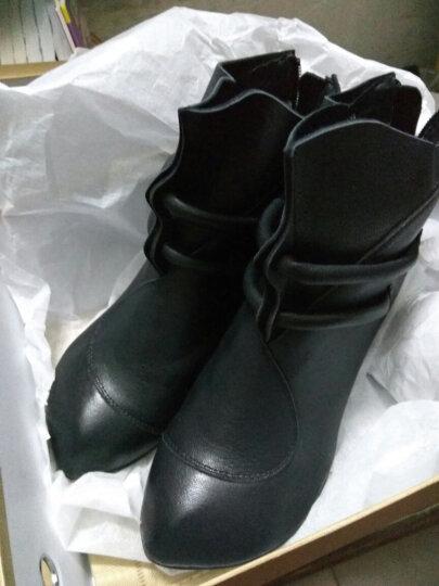相伴 秋冬新品真皮女靴 手工原创复古高跟女鞋尖头文艺优雅粗跟小短靴女 黑色皮里 38 晒单图