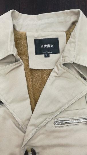 凯特诺森 风衣男 春季男士休闲户外修身新款纯棉中长款薄外套韩版时尚加绒加厚保暖风衣 卡其-加绒 M 晒单图
