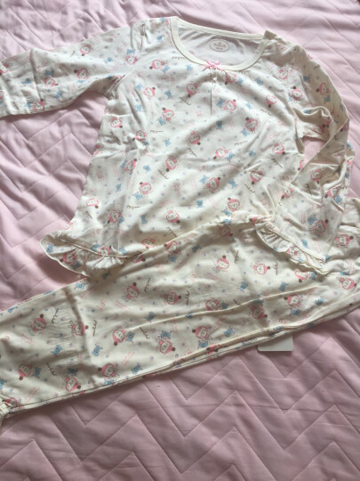 唯·路易(VIV&LUL) 唯·路易儿童睡衣套装纯棉男童家居服长袖套装女童宝宝春装睡衣 女童嫩黄款 130 晒单图