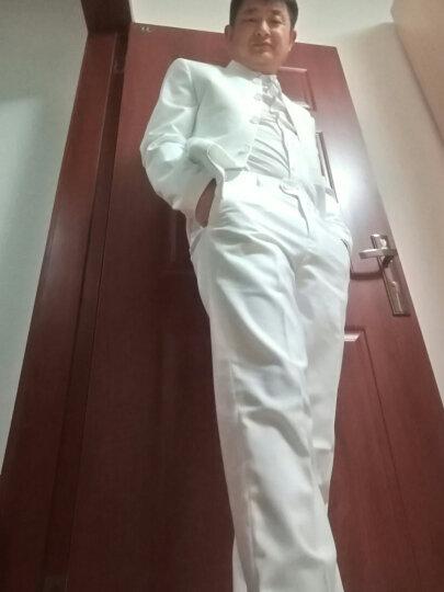 九绅新款中山装青年男士修身立领西装套装男立领西服正装中国风中华立领唐装新郎礼服 白色中山装 XL/175上衣/32码裤子 晒单图