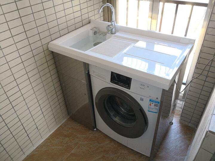 格雷诺 不锈钢滚筒洗衣机柜带搓板阳台洗衣机柜石英石洗衣池盆浴室柜组合 白色柜/1.2米左白盆 晒单图