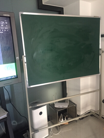 齐富(QIFU)90*120双面磁性移动白板绿板支架式白板办公会议教学写字书写黑板 60*90cm面白面绿双面带支架 晒单图