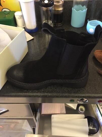 驰轩欧美风秋冬新款短靴女真皮平底短筒切尔西休闲加绒踝靴子单靴潮 黑色加绒 38 晒单图
