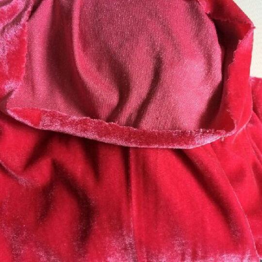 晶照红不倒绒布料 纯色弹力金丝绒 韩国绒 会议桌布 运动服 连衣裙面料弹性大 表面柔软 玫红 晒单图