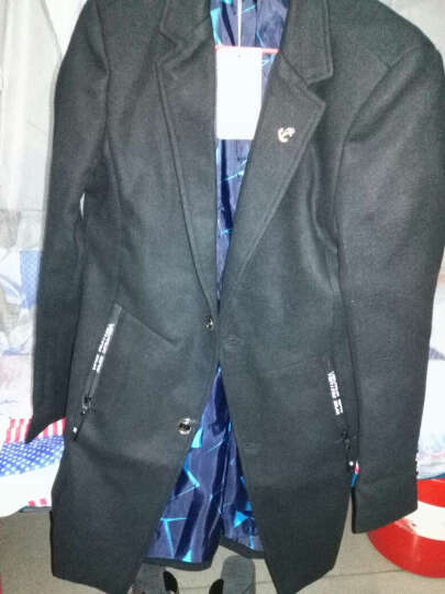吉马克风衣男士2018春秋新款韩版修身中长款帅气呢子大衣男装毛呢外套上衣 灰色 L 晒单图