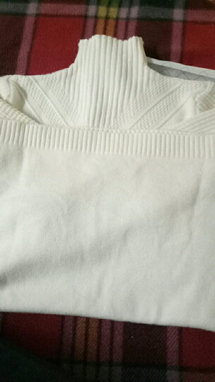 南极人 针织衫女2018秋冬季新品韩版外套中长款打底衫加厚纯色半高领毛衣女 M1316 米白 L 晒单图