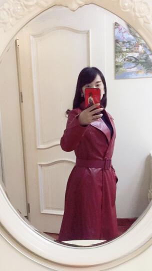 婵莎皮大衣女2017秋冬装新款女装PU皮气质长款风衣外套修女士皮衣 黑色 M 晒单图