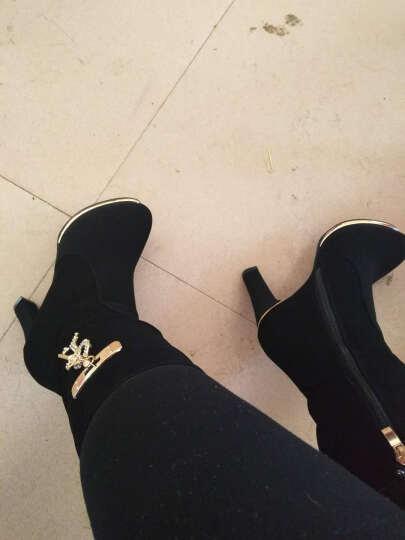 千娇蝶(QIANJIAODIE) 千娇蝶女鞋冬季新款女靴加绒保暖时尚女士高跟鞋休闲鞋 6973-35酒红 36 晒单图