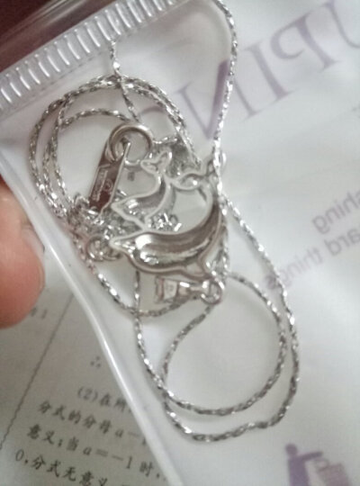 旭平首饰(XUPING JEWELRYI)日韩时尚合成锆石爱心小海豚锁骨链 项链女可爱小巧学生礼物 白金色 均码 晒单图