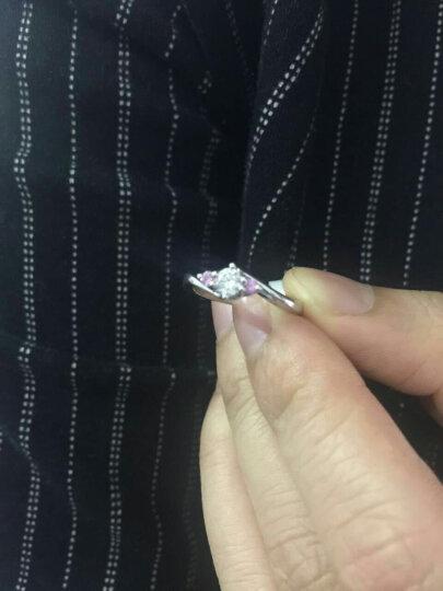 一克拉18K金钻石戒指白金结婚求婚钻戒女定制铂金PT950情侣对戒正品 红色 20分(16分主钻+4分粉蓝宝) 晒单图