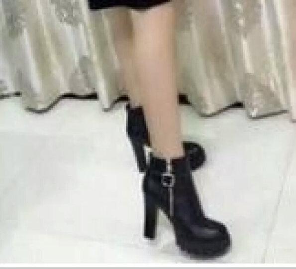 短靴女高跟2018秋冬新款马丁靴女铆钉单靴粗跟女靴厚底机车靴 KKF5D083黑色 37 晒单图