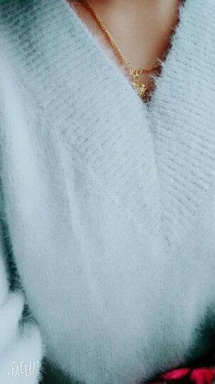 KUFANXI香港潮牌2019秋冬时尚潮韩版套头V领针织衫女中长款绒毛衣裙打底连衣裙子 灰色 S 晒单图