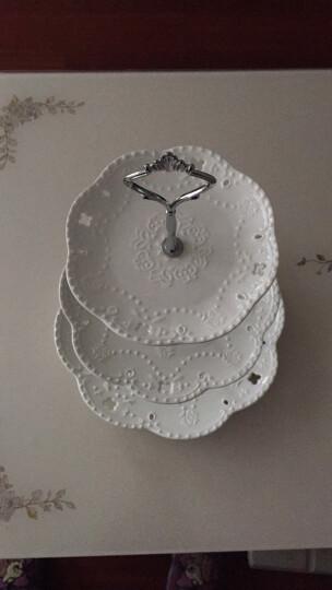 瓷工巧匠 欧式果盘陶瓷水果盘创意客厅干果盒糖果盘纯白浮雕托盘三层点心零食盘 晒单图
