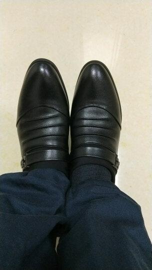 伊万尼春秋季新款真皮男士皮鞋透气增高商务休闲鞋时尚英伦套脚男鞋 黑色加棉款 41 晒单图