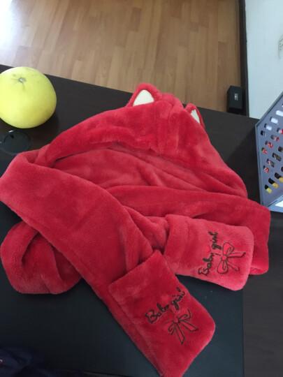Siggi 围巾女冬天韩版潮围脖可爱萌双层加厚帽子围巾手套一体 红色(升级版单边加长款) 约95*15CM 晒单图