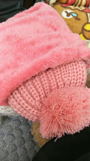 迈帽姿韩版加绒加厚毛线帽秋冬季女士套头针织帽骑车帽子防寒保暖护耳帽 皮粉色 M(56-58cm) 晒单图
