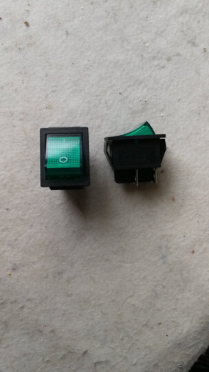 TaoTimeClub 大号船型开关KCD4-201 绿色4脚2档 带灯 翘板开关 晒单图