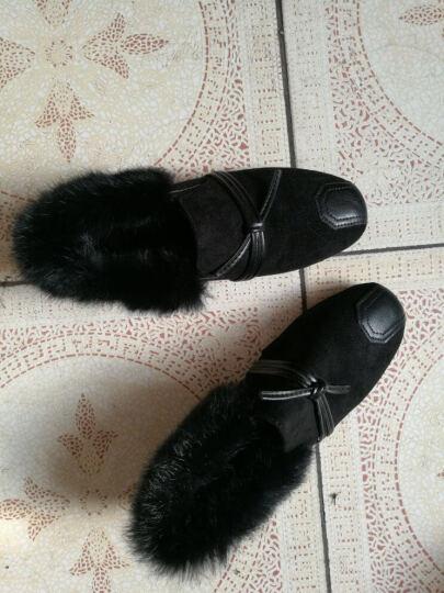 意牧森女鞋 单鞋女2018春季新款女鞋舒适豆豆鞋女懒人鞋时尚女单鞋平底瓢鞋女工作鞋 黑色链子 37 晒单图