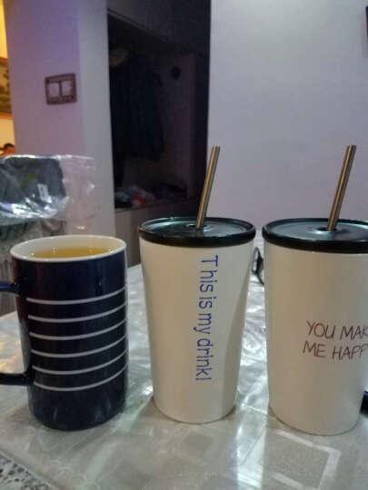 瓷魂 创意陶瓷文字马克杯奶茶咖啡杯不锈钢吸管水杯办公室喝水杯子 Drink蓝色 晒单图