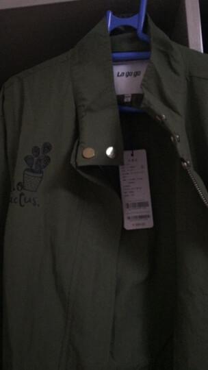Lagogo拉谷谷2018春装薄款风衣中长款抽绳显瘦宽松女式韩版外套GAFF21G427 军绿色(L3) L 晒单图