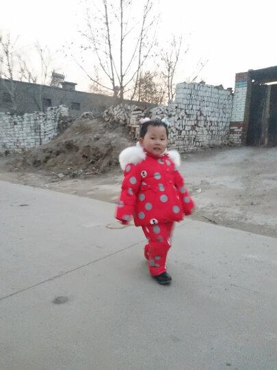 萌宝联盟(mengbaolianmeng) 儿童羽绒服男女童套装加厚婴儿背带裤两件套 红色圆点 90适合1岁半-2岁半 晒单图