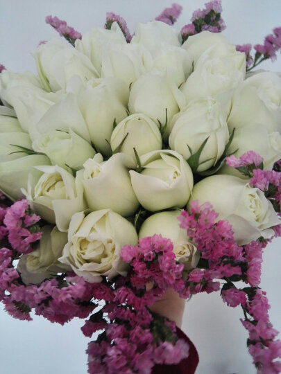 领香鲜花速递同城33朵混搭玫瑰花束香槟红玫瑰礼盒生日表白全国北京上海广州西安天津沈阳成都送花店 33朵白玫瑰—纯爱款 晒单图