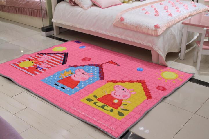 小猪佩奇Peppa Pig粉红猪小妹纯棉加厚儿童卡通地垫折叠垫床垫帐篷垫子环保爬行垫145×195×1cm 彩色屋佩奇粉 晒单图