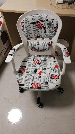 欧式电脑椅 家用书房办公椅子凳子靠背椅人体工学转椅 布艺椅写字椅白色田园碎花学生学习椅特价 米底巴黎铁塔 电镀钢制脚 晒单图