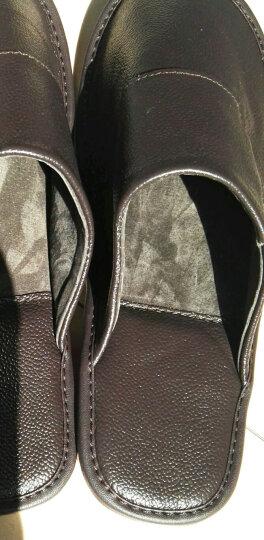 范米尼 牛皮春秋季拖鞋男士女式 包头老人居家木地板室内拖 真皮家居拖防滑猪皮内里 508 棕色 43-44码(29CM) 晒单图