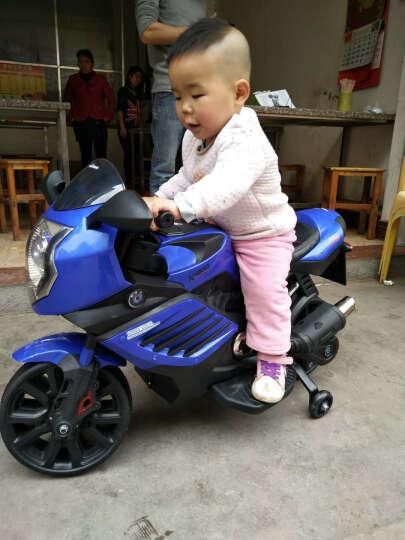 宝贝虎 新款儿童电动车三轮车摩托车宝宝可坐玩具车小孩电瓶车童车1-8岁 蓝色+双电双驱+音乐+皮座位 晒单图