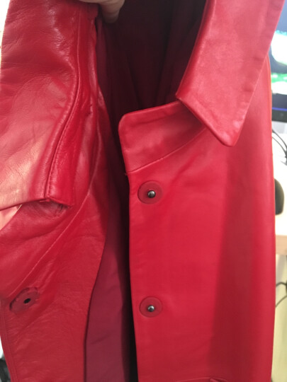 憨厚皇后 2018春季新款海宁真皮皮衣女长款九分袖绵羊皮风衣外套80 红色 2XL 晒单图