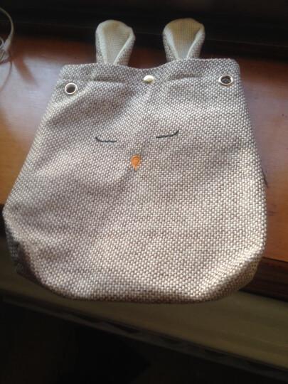 咪图新款时尚小清新棉麻布包袋女包可爱兔子单肩斜挎包小包 棕色 晒单图