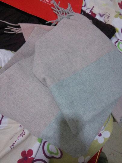 上海故事 新款羊毛格子围巾女士秋冬季保暖时尚围脖 米色枣红 晒单图