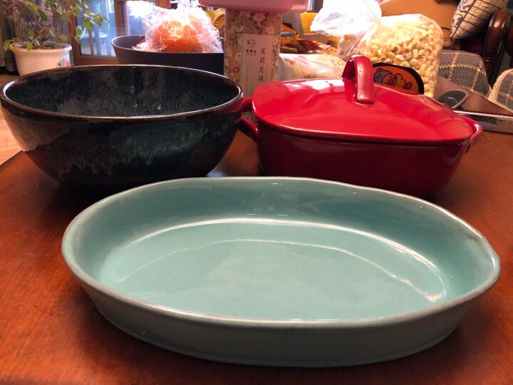 朵颐 欧式粗陶盘沙拉水果盘焗饭浅口盘鱼盘家用米饭碗小碗直身水杯 铜绿色手工长条盘 晒单图
