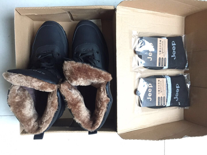 OEOVEAO/欧维欧 雪地靴男靴加绒保暖棉鞋 男士靴子男短靴军靴马丁靴男 Y924黑色 42 晒单图