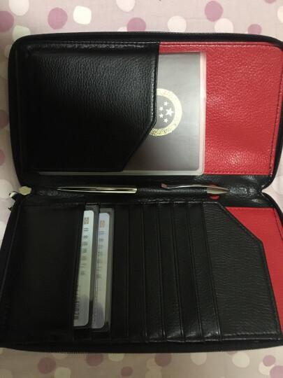 德国Modern创意多功能护照包 真皮韩版拉链机票夹 旅行护照夹收纳包证件袋 商务长款大容量钱包卡夹 黑黑色带笔 晒单图