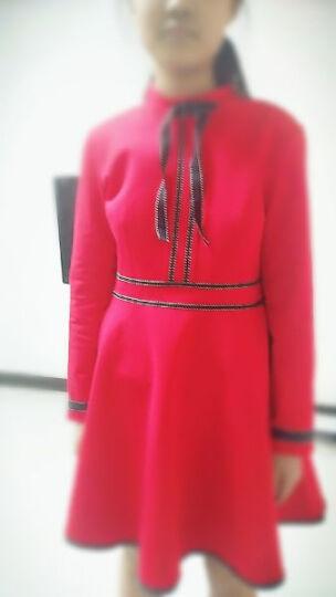 鱼丫头红色连衣裙女装长袖秋冬季新款加绒收腰显瘦a字打底裙子 黑色长袖不加绒 M(建议95-105斤) 晒单图