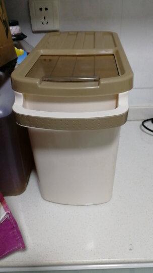 米桶10kg20kg大容量加厚可移动塑料透明放米的米桶防虫防潮面粉粮食收纳盒厨房米桶 咖啡色(送量杯) 可装约10公斤 晒单图
