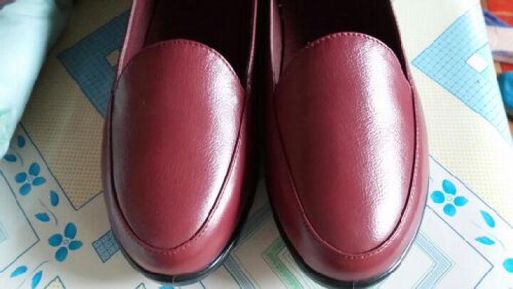 信诺 妈妈鞋真皮软底一脚蹬单鞋新款老人鞋大码女鞋平底皮鞋工作鞋 酒红 40 晒单图