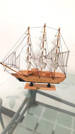 沃居 一帆风顺帆船摆件模型实木质木制手工地中海船摆饰客厅卧室书房装饰品仿真木船 大号帆船05-33CM*30CM 晒单图