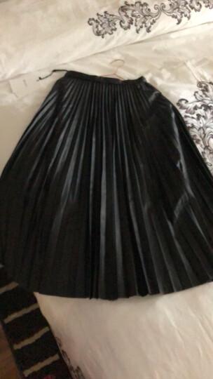 MOCO中长款过膝纯色拉链复古PU皮百褶半身裙MA1631SKT02 W08黑色 S 晒单图