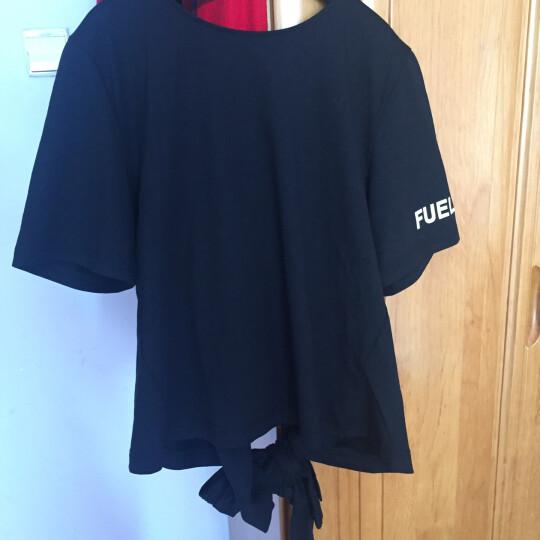 MOCO个性绑带束腰显瘦V字领字母短袖T恤女MA172TEE211 黑色 M 晒单图