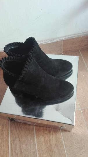 意米思流苏女靴时尚粗跟短靴子中跟侧拉链靴子女冬季新款欧美潮女士磨砂皮女短靴 莫73302驼色 37 晒单图