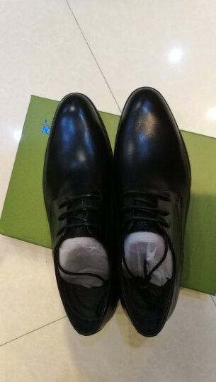 哈森男鞋 2018春季牛皮低跟圆头时尚正装德比鞋MS86445 黑色 40 晒单图
