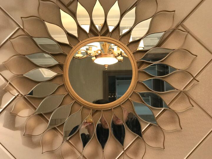 释梦园 欧美式铁艺壁挂镜圆形镜子客厅餐厅浴室装饰镜玄关镜壁炉镜沙发电视背景墙面装饰2021 80*80CM 晒单图