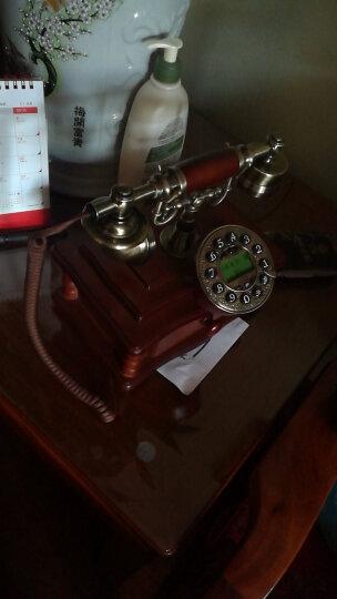 实木欧式仿古电话机复古时尚创意个性电话机家用固定有绳创意古董电话座机 背光免提版-布线款 晒单图