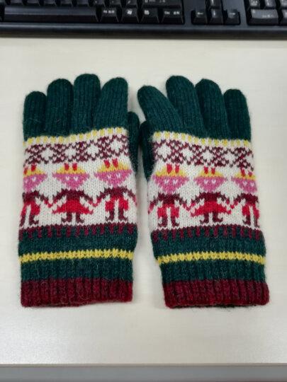 Banjvall 冬季加厚加绒保暖羊毛手套 女士可爱韩版时尚骑车手套 猫头鹰红色 晒单图