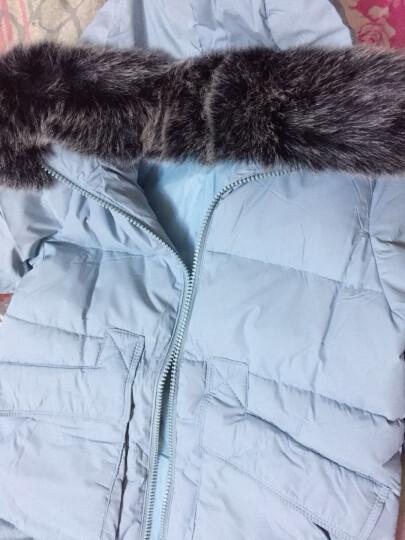 莎蕾雅2019冬季新款韩版修身A字飞机款羽绒服女中长款外套567 浅蓝色 S 晒单图