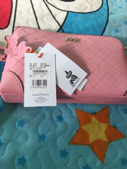 稻草人(MEXICAN)潮女包斜挎包欧美时尚牛皮单肩包贝壳包菱格小包MYH70417L-06粉色 晒单图